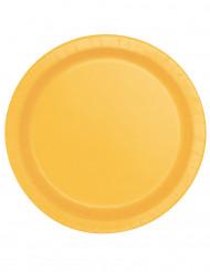 16 Platos de cartón amarillo girasol 22 cm
