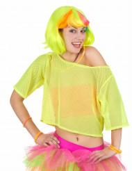 Camiseta corta rejilla amarilla años 80 mujer