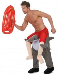 Disfraz de hombre montado en un tiburón