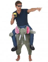 Disfraz de hombre montado en un elefante adulto