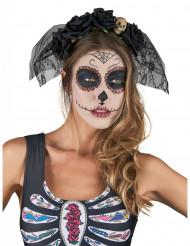 Diadema negra con velo adulto Día de los Muertos