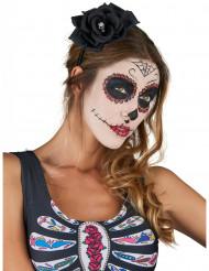 Diadema con rosa negra Día de los muertos adulto