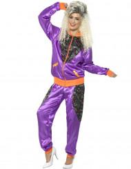 Disfraz chándal años 80 violeta mujer