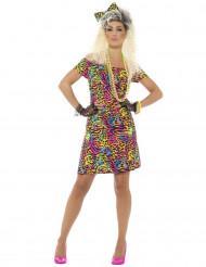 Disfraz años 80 fosforito leopardo mujer