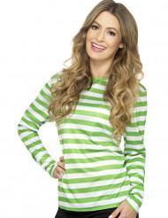 Camiseta a rayas verde y blanco duende adulto