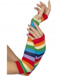 Mitones a rayas multicolores adulto