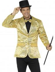 Chaqueta disco lentejuelas doradas lujo hombre