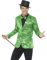 Chaqueta disco verde con lentejuelas lujo hombre