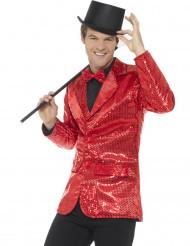 Chaqueta disco roja de lentejuelas lujo hombre