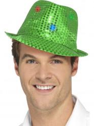 Sombrero borsalino verde lentejuelas con LED adulto
