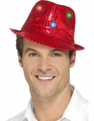 Sombrero borsalino rojo con lentejuelas y LED adulto