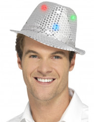 Sombrero borsalino plateado con lentejuelas LED adulto