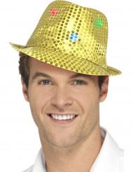 Sombrero borsalino dorado con lentejuelas y LED adulto