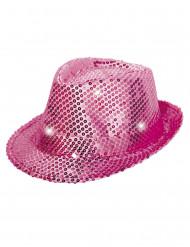 Sombrero borsalino rosa lentejuelas con LED adulto