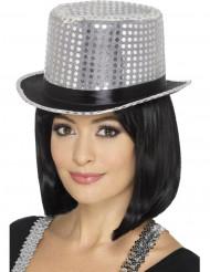 Sombrero alto con lentejuelas plateado con lazo negro adulto