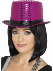 Sombrero alto con lentejuelas rosa con lazo negro adulto