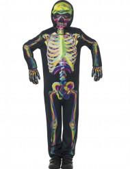 Disfraz esqueleto colorido fosforescente niño Halloween