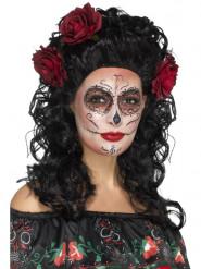 Peluca larga negra con rosas rojas mujer Día de los muertos
