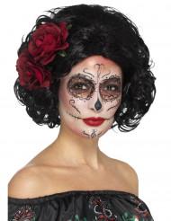 Peluca corta negra con rosas rojas mujer Día de los muertos