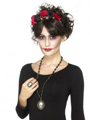 Collar y anillo joyas esqueleto adulto Halloween