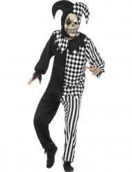 Disfraz de rey loco diabólico negro y blanco hombre Halloween