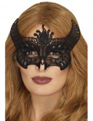 Antifaz puntila diablesa negro mujer Halloween