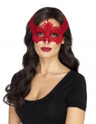 Antifaz puntilla diablesa rojo mujer Halloween
