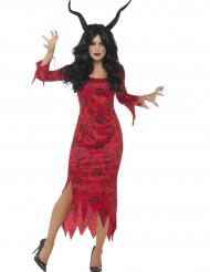 Disfraz de diablo oculto rojo mujer Halloween