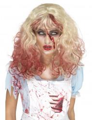 Peluca rubia sangrienta mujer Halloween