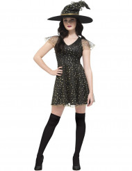 Disfraz bruja con estrellas doradas mujer Halloween