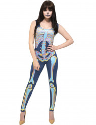 Disfraz traje esqueleto colorido mujer Halloween