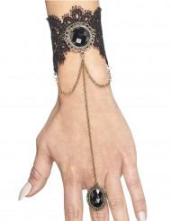 Pulsera con anillo gótico negro mujer