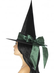 Sombrero negro con lazo verde mujer Halloween