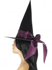 Sombrero negro con lazo violeta Halloween