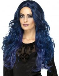 Peluca larga azul oscuro mujer
