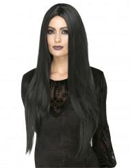 Peluca larga negra resistente al calor mujer