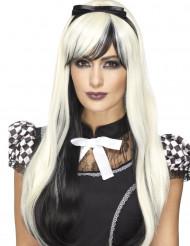 Peluca larga negra y blanca con cinta resistente al calor mujer