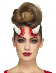 Prótesis látex cuernos del diablo adulto Halloween