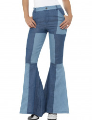 Pantalón vaquero patchwork azul mujer
