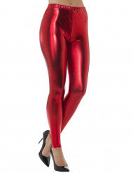 Leggings metalizados rojo adulto