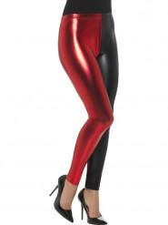 Leggings metalizado bicolor negro y rojo mujer