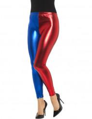 Legging metalizado bicolor azul y rojo mujer
