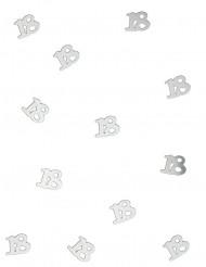 Confetis de mesa plateados 18años