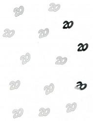 Confetis de mesa 20 años plateado