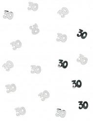 Confetis de mesa 30años plateados