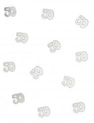 Confetis de mesa 50años plateados