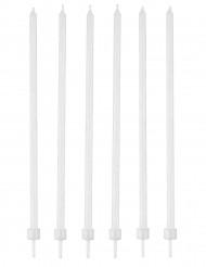 16 Velas blancas finas con soporte 12 cm