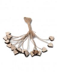 16 Corazones de madera con cordón