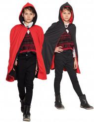 Capa reversible rojo y negro niño Halloween