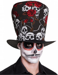 Sombrero de copa calavera y rosas rojas adulto Día de los muertos
